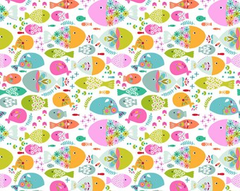 QUILTING COTTON FABRIC Blend Swimming with the Fishes Sold by the 1/2 yard