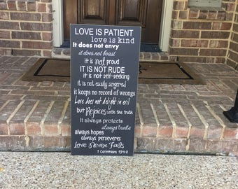 1 Corinthians 13 ~Love Is Patient Love Is Kind Sign ~ READY TO SHIP Custom Wood Sign ~ Love Never Fails Bible Verse Sign ~ Scripture Art