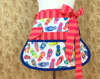 Flip Flops Sassy Half Vendor/ Teacher Apron, 6/8 pockets, Womens Regular and Plus SIzes, great for Teachers, Vendors, Crafts, Farmers Market