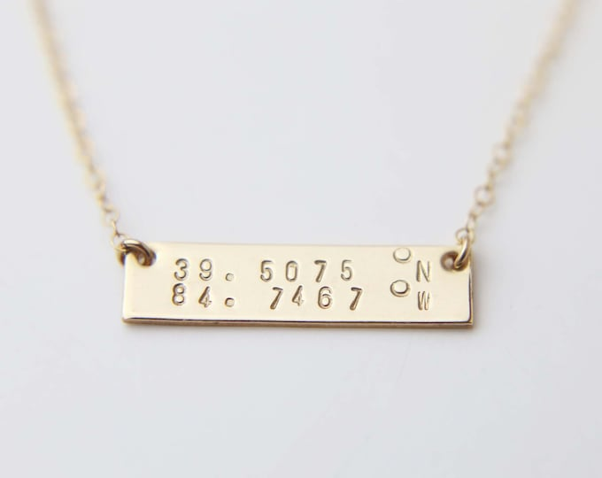 Location Coordinate Gold Bar Necklace - Personalized Name Plate Necklace in Gold filled . longitude and latitude EP029
