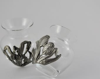 gallerymichel Pair of Small Vintage Seagull Pewter Vases with Irises and Tulips