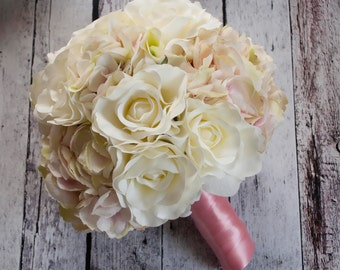 Ivory Rose and Blush Hydrangea Wedding Bouquet