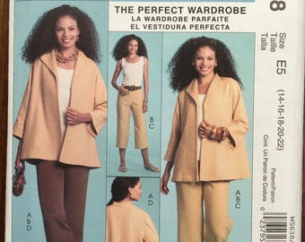McCall's Pattern M5638 Misses Jacket Top Pants Sz BB (14 - 22) Palmer Pletsch Plus Size