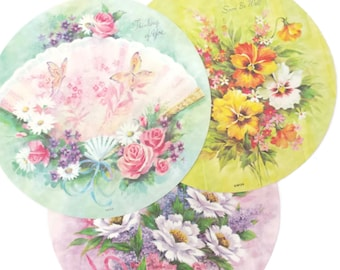 Vintage Greeting Cards Lot of 3 Unused Get Well Thinking of You Bright Colorful Cheery Flowers Floral Ephemera Collage Paper Crafts Circle
