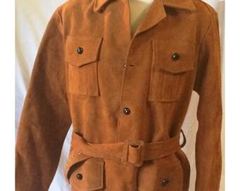 Vintage Brown Leather Suede Belted Jacket