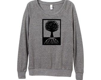Womens Longsleeve Tree Shirt - Heather Grey Tree Shirt - Block Print Shirt - Small, Medium, Large, XL