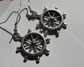 Navy metal earrings