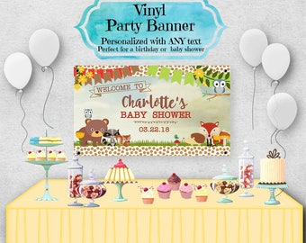 """Vinyl Welcome Banner, 36""""x20"""", 48""""x30"""", Woodland Forest Animals, Fox, Hedgehog, Racoon, Bear, Baby Shower or Birthday Party, Table Backdrop"""