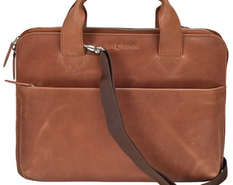 Laptop bag Thin-13 inch-Genuine leather leather shoulder bag-Slimline-Compact-Business-Organizer-Macbook-Ultrabook
