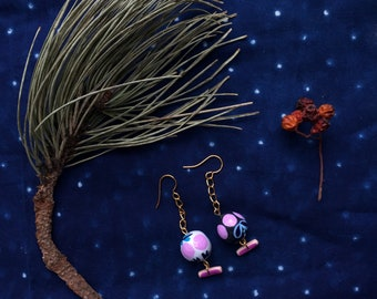 PLANTS & BERRIES | hand painted clay drop earrings