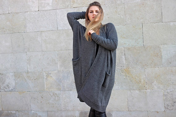 oversized coat woman with wrap open alpaca wool maternity plus pockets cardigan sweater drape Gray fit size knit gift loose black dnvAqx4wqU