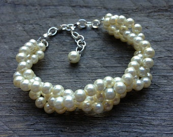 Braided Ivory Pearl Bracelet, Bridal Bracelet Pearl, Wedding Bracelet Pearl, Pearl Bracelet Prom Jewelry on Silver or Gold Chain