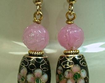 Vintage Chinese Black Cloisonne Barrel Dangle Bead Barrel Shape Earrings,Vintage German Pink Pressed Glass Rose Beads, Gold Ear Wires