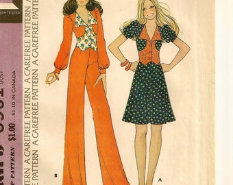 """A Shaped, Front Button, Waist Length Top, Flared Skirt & Wide Straight Leg Pants Pattern for Women: Uncut - Size 14 Bust 36"""" • McCall's 3951"""
