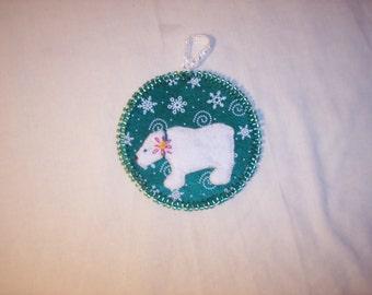 Christmas Polar Bear Felt Ornament