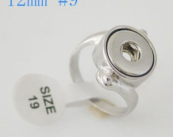 Women's Art Deco Silver Ring Fits 12mm Snap Jewels.  Size 9