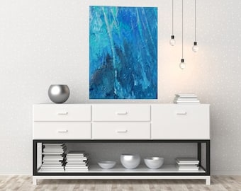 original artwork, abstract painting blue, turquoise, size 12 * 16
