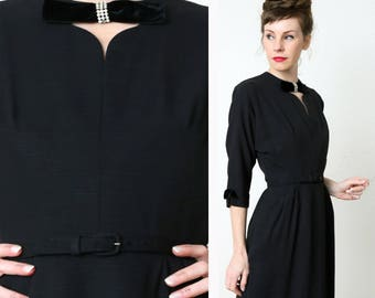 60s Black & Bling Dress . LBD Faux Diamonds