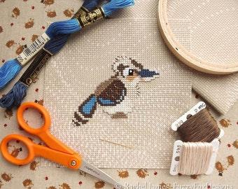 Little Aussie Kookaburra Cross Stitch Pattern PDF | Cute Little Bird | Easy | Modern | Beginners Counted Cross Stitch | Instant Download