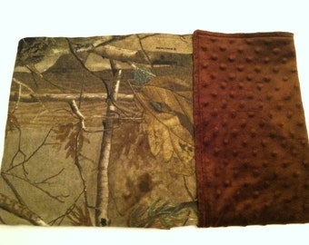 Realtree camo baby blanket  with brown minky back