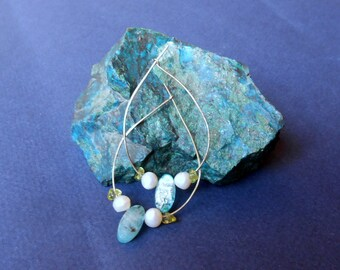 Sofia hoops silver pearls kyanite and peridot