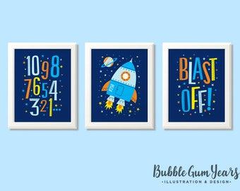 Space print set, boys space print set, space nursery art, rocket nursery prints, boys bedroom, kids room, space print set, space decor