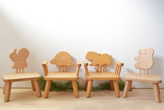 Kids Furniture, Animal Chairs (Squirrel/Turtle/Hippopotamus/Koala) Baby /  Toddler Chair, Child / Kids Wooden Stool, Childrens Christmas Gift