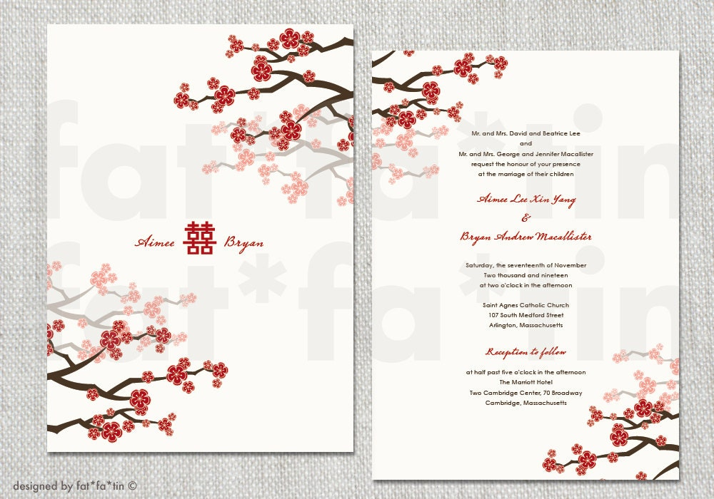 Red Cherry Blossoms Double Happiness Chinese Wedding