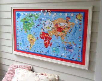 World Map BULLETIN BOARD - Kids Magnetic Memo Board with Red White and Blue Fabric Map and our HANDMADE hardwood frame