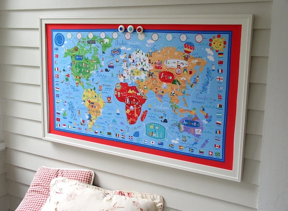 World map bulletin board kids magnetic memo board with red world map bulletin board kids magnetic memo board with red white and blue fabric map and our handmade hardwood frame gumiabroncs Images