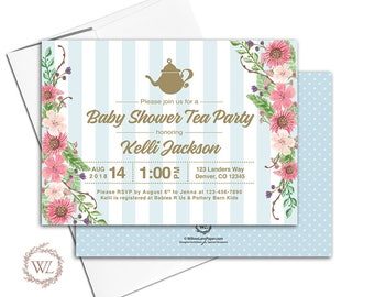 Tea Party Baby Shower Invite, Blue and Gold Flower Boy Baby Shower Invitation, Printable or Printed - WLP00713