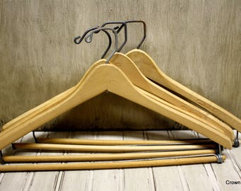 Vintage Wooden Hangers -  Closet Organizers - Supplies - Set of Four