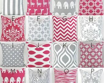 Hot Pink & Grey Pillow Covers  - 18x18 - Mix/Match patterns cushion sham euro throw modern geometric custom nursery decor Premier Prints