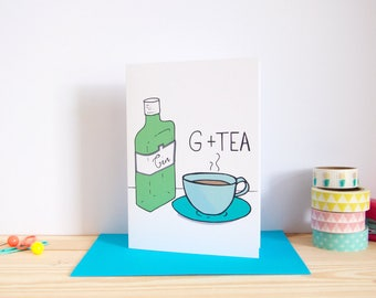 G & Tea Punny Birthday Card / Personalised Birthday Card / Funny Birthday Card / Gin Birthday Card