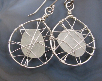 Sea Glass Earrings - genuine California sea glass, sterling silver wire cage, handmade, lightweight, medium size