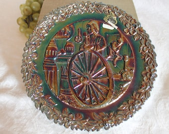 Fenton Amethyst Carnival Glass American Craftsman Plate #9 - 1978, Colonial Wheelwright Richard Ewstead