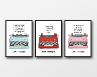 Set of 3 Unframed Kurt Vonnegut Quotes