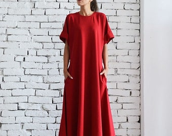 SALE Red Maxi Dress/Oversize Kaftan/Plus Size Maxi Dress/Red Oversize Tunic/Long Evening Dress/Short Sleeve Casual Dress/Loose Red Dress