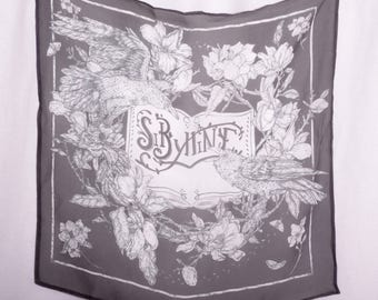 Sybilline Scarf / Silk Neckerchief / Square Scarf / Silk Bandana / Printed Scarf / Handkerchief / Headwear / Crow Book Moths