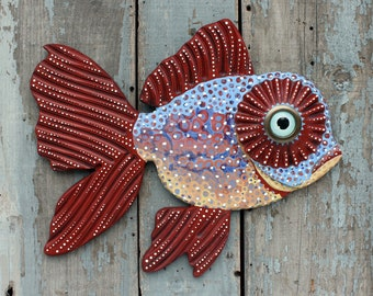 """Prudence, 20"""" Colorful Folk Art Fish Wall Art, FUN, Carved Wood Hand-Painted Collectable, handcrafted in Vermont, Repurposed Art,Unique Gift"""