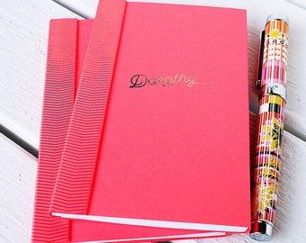 Signature Notebook, Custom Pocket Notebooks, Personalized Notebooks, Gold Foil, Rose Gold Foil, Foil Lettering