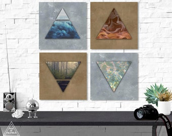 8 Art Elements : Four elements fire print symbol alchemy wall art