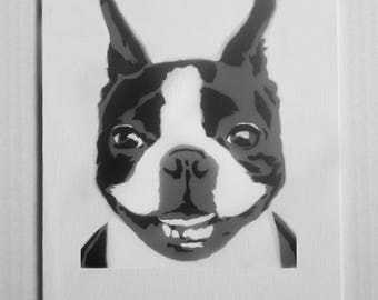 "Boston Terrier Portrait Spray Painting, 8""x10"" Canvas Panel"