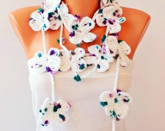 flower lariat  Scarf ,crochet lariat scarf ,flower scarf,crochet lariat jewelry