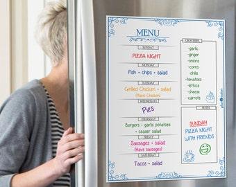 2018 Planner Menu~Meal Planner~Weekly Meal Planner~Daily menu planner~Dry Erase Menu~Weekly Menu Board