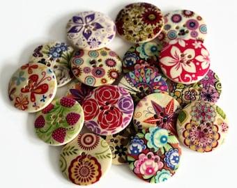 4 Flower Print Buttons - 30mm - Floral Buttons - Natural Wood Buttons - Large Wooden Buttons - Mixed Print Buttons - Big Floral Button PW210