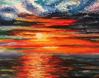 Oil Painting, Seascape Painting, Canvas Art, Oil Painting Original, SunSet, Palette Knife Painting