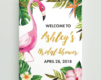 Flamingo Welcome Sign, Pink Flamingo Tropical Party Welcome Sign, Hawaiian Luau Let's Flamingle Party Decor Welcome Sign, Print Your Own