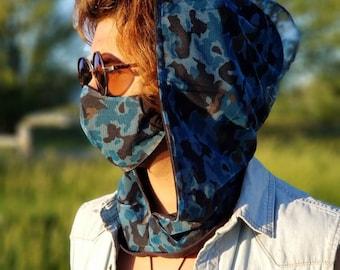 Rave Hood| Reversible Festival Hood| Hood Scarf| Mens Rave Wear| Womens Festival Wear| Womens Hooded Scarf