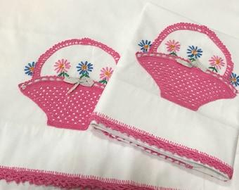 A Tisket A Tasket - A Pretty Pink Crochet Basket - Pair of Vintage Pillow Cases
